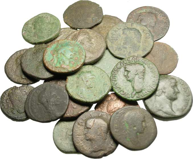 "᷅<font color=""#FF0000""><b>SOLD</b></font color>: Dealer's Lot of 22 Large Ancient Roman Coins"