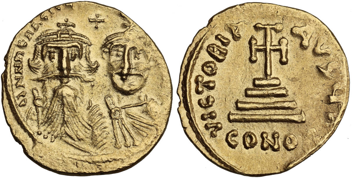 Heraclian Dynasty, Heraclius, with Heraclius Constantine, 610-641 AD, Struck c. 629-631 AD