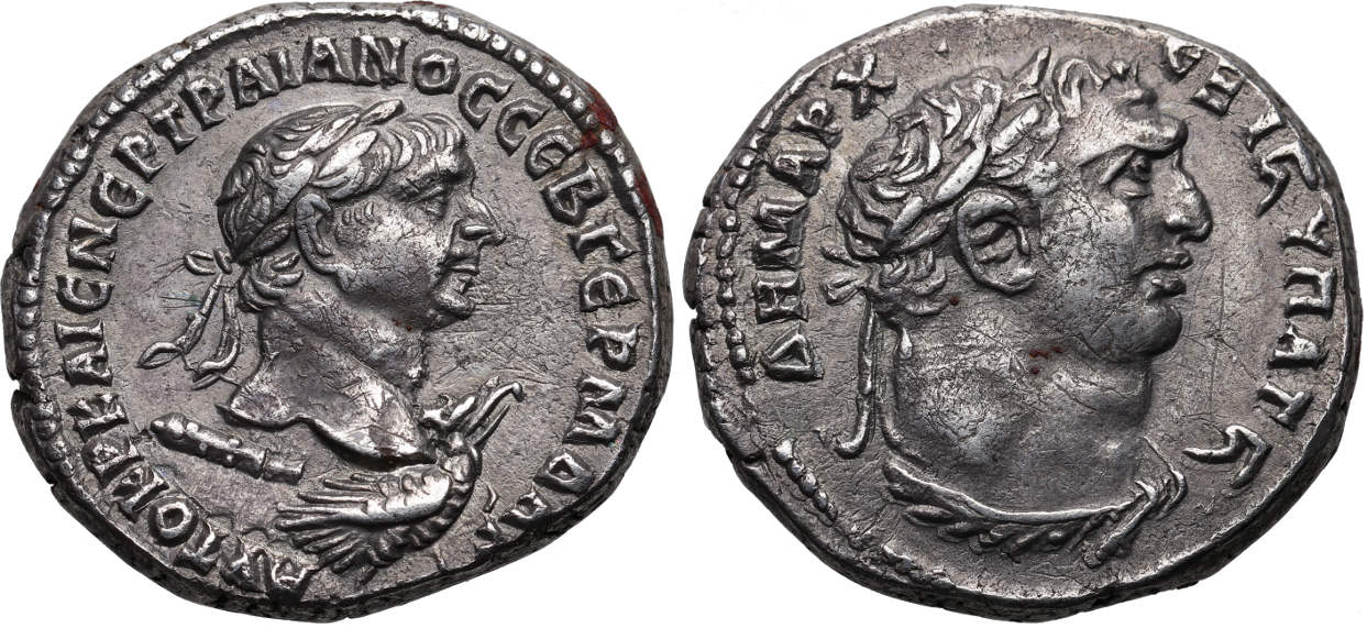 "᷅  <font color=""#FF0000""><b>SOLD</b></font color>: Trajan, 98-117 AD, Syria, Seleucis and Pieria, Antioch, AR Tetradrachm, Melqart-Herakles, struck 112 AD, McAlee Plate Coin"