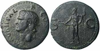 "᷅  <font color=""#FF0000""><b>SOLD</b></font color>: Agrippa, Ae As, 37-41 AD"
