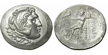 "᷅  <font color=""#FF0000""><b>SOLD</b></font color>: Alexander the Great Tetradrachm, Temnos, 188-170 BC, EF"