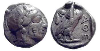 "Athens Old-Style ""Owl"" Tetradrachm, 449-413 BC, Large Flan, VF"