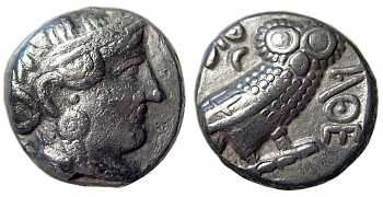 "Athens ""Owl"" Tetradrachm, 393-300 BC, Advanced Style, VF"