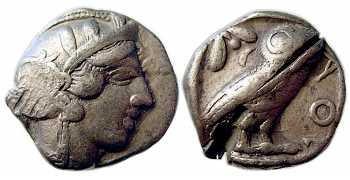 "᷅  <font color=""#FF0000""><b>SOLD</b></font color>: Athens Old-Style ""Owl"" Tetradrachm, 449-413 BC, VF"