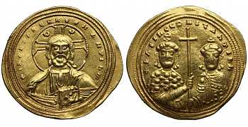 "᷅ <font color=""#FF0000""><b>SOLD</b></font color>: Byzantine Empire, Macedonian Dynasty, Basil II Bulgaroktonos, with Constantine VIII, 976-1025 AD, AV Histamenon, Christ Pantocrator, struck c. 1005-1025 AD"