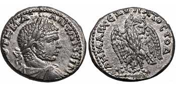 Caracalla, 198-217 AD, Syria, Seleucis and Pieria, Antioch, AR Tetradrachm, Eagle, struck c. 215-217 AD, Prieur Plate Coin