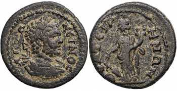 Caracalla, 198-217 AD, Lydia, Thyatira, AE21, Tyche Soterios