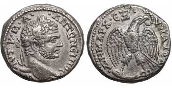 Caracalla, 198-217 AD, Syria, Seleucis and Pieria, Antioch, AR Tetradrachm, Eagle, struck c. 214-215 AD