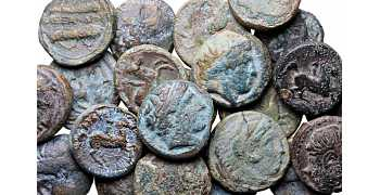 Dealer's Lot of 22 Macedonian Bronze coins of Philip II and Alexander the Great