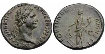 Domitian, AE As, Fortuna Augusta, 92-94 AD