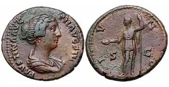Faustina II the Younger, 147-175 AD, AE As, Juno, struck c. 147-150 AD