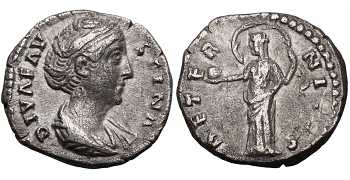 Faustina I the Elder, 138-141 AD, AR Denarius, Aeternitas, Providentia or Urania, Posthumous Issue, struck 141-161 AD