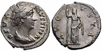 Faustina I the Elder, 138-141 AD, AR Denarius, Ceres, Posthumous issue, struck 141-161 AD