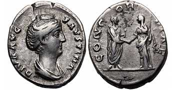 Faustina I the Elder, 138-141 AD, AR Denarius, Antoninus and Faustina, Posthumous Issue, struck 141 AD and immediately afterwards