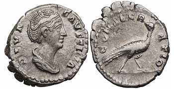 Faustina I the Elder, 138-141 AD, AR Denarius, Peacock, Posthumous Issue, Struck 141-161 AD