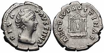 Faustina I the Elder, 138-141 AD, AR Denarius, Hexastyle Temple, Posthumous Issue, struck 141-161 AD