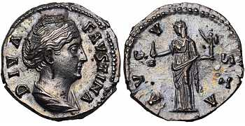 Faustina I the Elder, 138-141 AD, AR Denarius, Vesta, Posthumous Issue, struck 141-161 AD