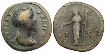 Faustina I the Elder, 138-141 AD, AE Sestertius, Ceres, Posthumous Issue, struck 141-161 AD