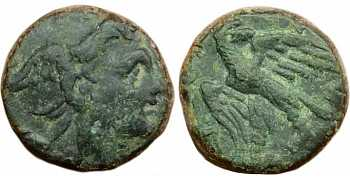 "᷅  <font color=""#FF0000""><b>SOLD</b></font color>: Perseus, King of Macedonia, Greece Bronze coin."