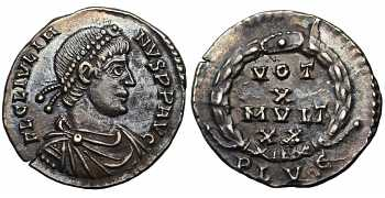 "᷅  <font color=""#FF0000""><b>SOLD</b></font color>: Julian II, the Apostate, 360-363 AD, AR Siliqua, struck 361 AD, from the East Harptree Hoard"