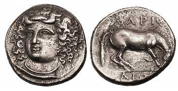 "᷅  <font color=""#FF0000""><b>SOLD</b></font color>: Thessaly, Larissa, Silver Drachm, Nymph,  360-438 BC"