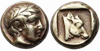 "᷅  <font color=""#FF0000""><b>SOLD</b></font color>: Lesbos, Mytilene, Electrum Hekte, Apollo, c. 454-427 BC"