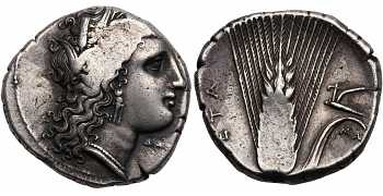 "᷅  <font color=""#FF0000""><b>SOLD</b></font color>: Lucania, Metapontion, AR Nomos, Demeter, struck c. 330-290 BC"