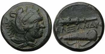 "᷅  <font color=""#FF0000""><b>SOLD</b></font color>: Alexander the Great, 336-323 BC, AE Unit, Macedonian Mint, Lifetime Issue, Apparently Unpublished and Unique"
