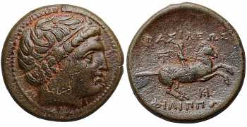 Kings of Macedon, Philip III Arrhidaeus, 323-317 BC, AE19, Labrys and HK control marks, struck c. 323-319 BC