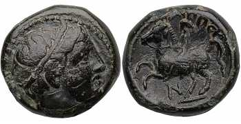 Kingdom of Macedon, Philip II, AE16, Horseman Left, N Control Mark, 359-336 BC
