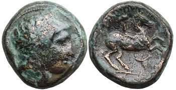 Kingdom of Macedon, Philip II, 359-336 BC, AE Unit, Bucranium Control Mark