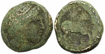Kingdom of Macedon, Philip II, AE17, E Control Mark, 359-336 BC