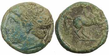 Kingdom of Macedon, Philip II, AE18, Head Left, >E Control Mark, 359-336 BC