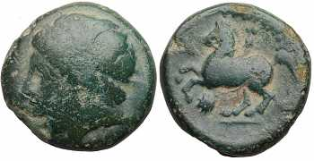 Kingdom of Macedon, Philip II, AE17, Head Left, Horseman Left, Lion's Head Control Mark, 359-336 BC