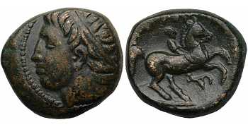 Kingdom of Macedon, Philip II, 359-336 BC, AE Unit, Head Left, Bucranium Control Mark, the Finest Style