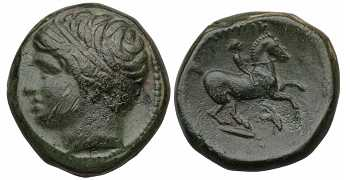 Kingdom of Macedon, Philip II, AE19, Head Left, Goat's Head Control Mark, 359-336 BC