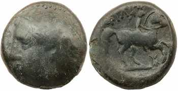 Kingdom of Macedon, Philip II, AE18, Head Left, Vertical Thunderbolt Control Mark, 359-336 BC