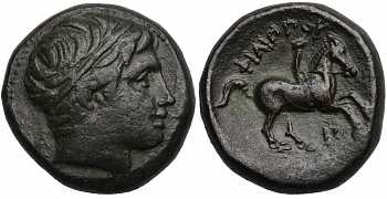 Kingdom of Macedon, Philip II, AE18, Pi Control Mark, A on Obverse, 359-336 BC