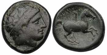 Kingdom of Macedon, Philip II, AE18, E Control Mark, 359-336 BC
