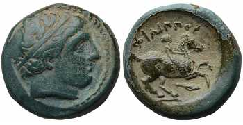 Kingdom of Macedon, Philip II, 359-336 BC, AE18, Spearhead Control Mark