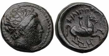 Kingdom of Macedon, Philip II, 359-336 BC, AE Unit, H-Gamma Control Mark