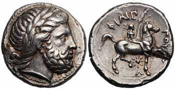 Kingdom of Macedon, Philip II, 359-336 BC, AR Tetradrachm, Helios Lambda Control Mark, struck c. 348/7-343/2 BC