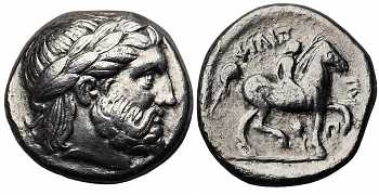 Kingdom of Macedon, Philip II, 359-336 BC, AR Tetradrachm, Ear of Grain and Pi Control Marks, struck c. 348/7-343/2 BC