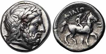 "᷅  <font color=""#FF0000""><b>SOLD</b></font color>: Kingdom of Macedon, Philip II, 359-336 BC, AR Tetradrachm, Ear of Grain and Pi Control Marks, struck c. 348/7-343/2 BC"