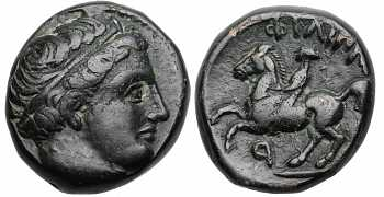 Kingdom of Macedon, Philip II, AE17, Horseman Left, Retrograde P Control Mark, 359-336 BC
