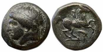 Kingdom of Macedon, Philip II, AE18, Head Left, Bull Forepart Control Mark, 359-336 BC