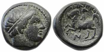 Kingdom of Macedon, Philip II, AE17, Horseman Left, N Control Mark, 359-336 BC