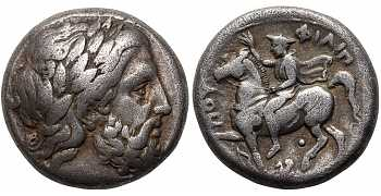 Kingdom of Macedon, Philip II, 359-336 BC, AR Tetradrachm, Pegasus Control Mark, struck c. 355-349/8 BC
