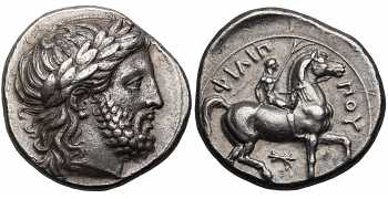 Kingdom of Macedon, Philip II, 359-336 BC, AR Tetradrachm, Thunderbolt and N Control Marks, struck c. 342/1-337/6 BC, Le Rider Plate Coin, Hoard Coin