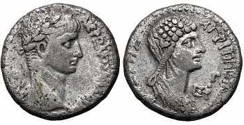 "᷅  <font color=""#FF0000""><b>SOLD</b></font color>: Nero, with Agrippina Junior, 54-68 AD, Syria, Seleucis and Pieria, Antioch, AR Tetradrachm, struck c. 56-57 AD"